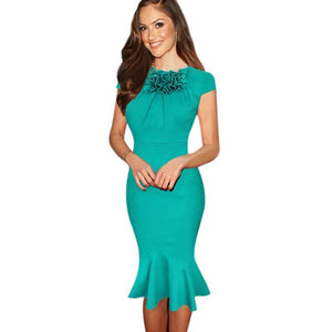 Blue & Green O-Neck Bodycon Mermaid Pencil Dres