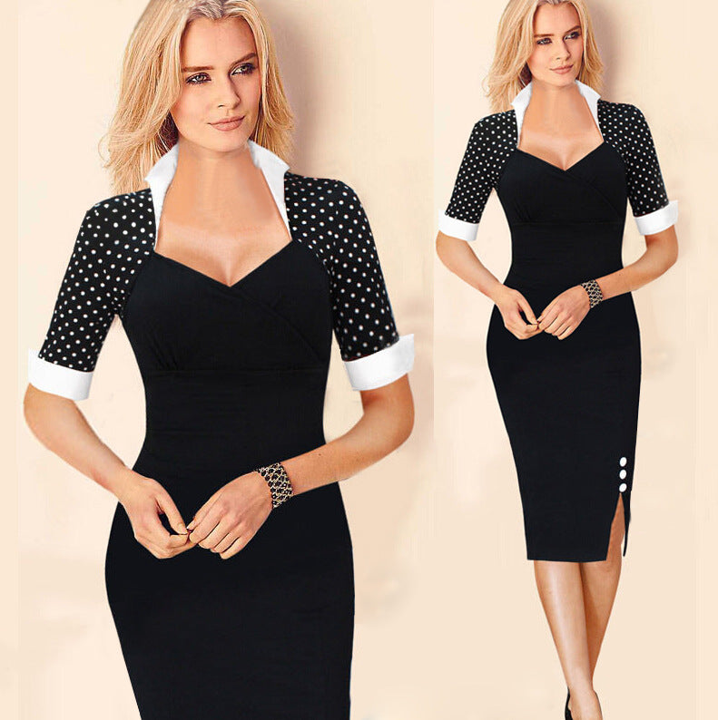 Classic Rockabilly Vintage Pinup Retro Lady Wiggle vestidos Office party Causal half sleeve Tunic V-neck Pencil Bodycon Dress 45