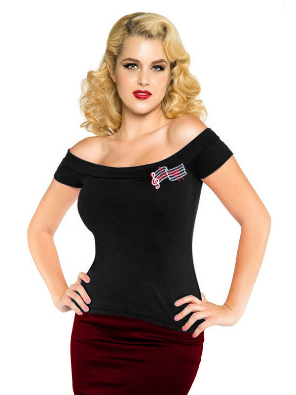 Clearance! Women Short Sleeve Trendy Fitted Off Shoulder Gypsy TShirts Black Sexy Lady Club Wear 50's Rockabilly Embroidery Tops