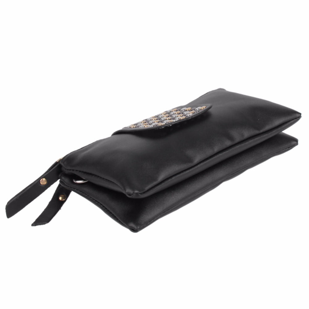 Cool Rivet Long Zipper Black Purse