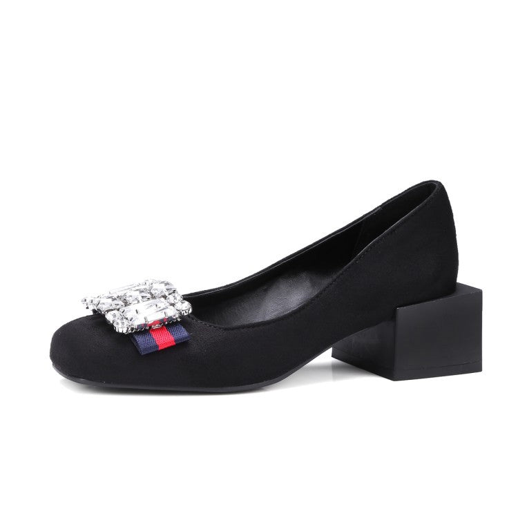 Vintage Crystal Loafer Square Heels Shoes