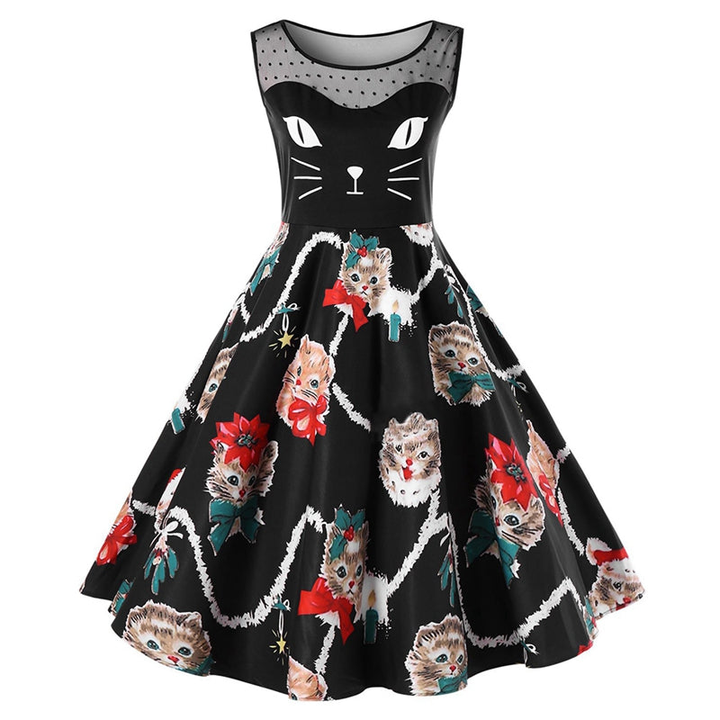 Vintage Dress Mesh Patchwork in Cute Cat Print