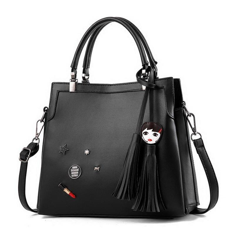DIINOVIVO Brand Ladies' Youth Leather Handbags Tassel Punk Totes Designer Female Exclusive Rivet Shoulder Bags for Girl WHDV0029