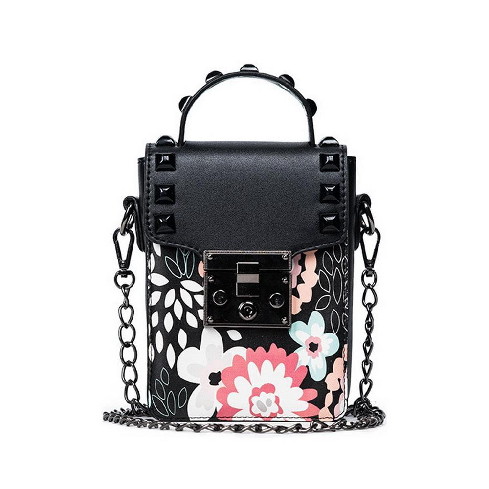DIINOVIVO New Fashion European and Americans Style Rivet Handbag Punk Girls Floral Shoulder Bags Women Messenger Bags WHDV0173
