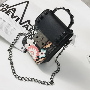 Punk Floral Rivet Messenger Bag
