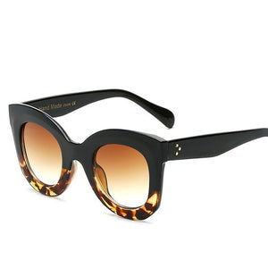 Fashionable Big Frame Womens Sunglasses with Vintage Rivets and bling