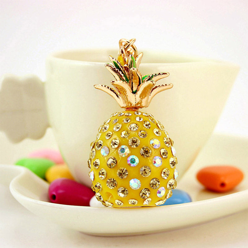 Tropical Fruit Pineapple Crystal Keychain Pendant