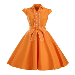 Laciness Gown Turn-down Neck Pin Up Bow Dress