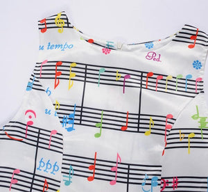 Vintage Midi Dress with Music Note Print swing Retro Dress