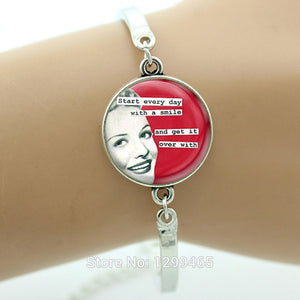 Handmade Rockabilly Jewelry Star Vintage glass Cabochon Quote bracelet