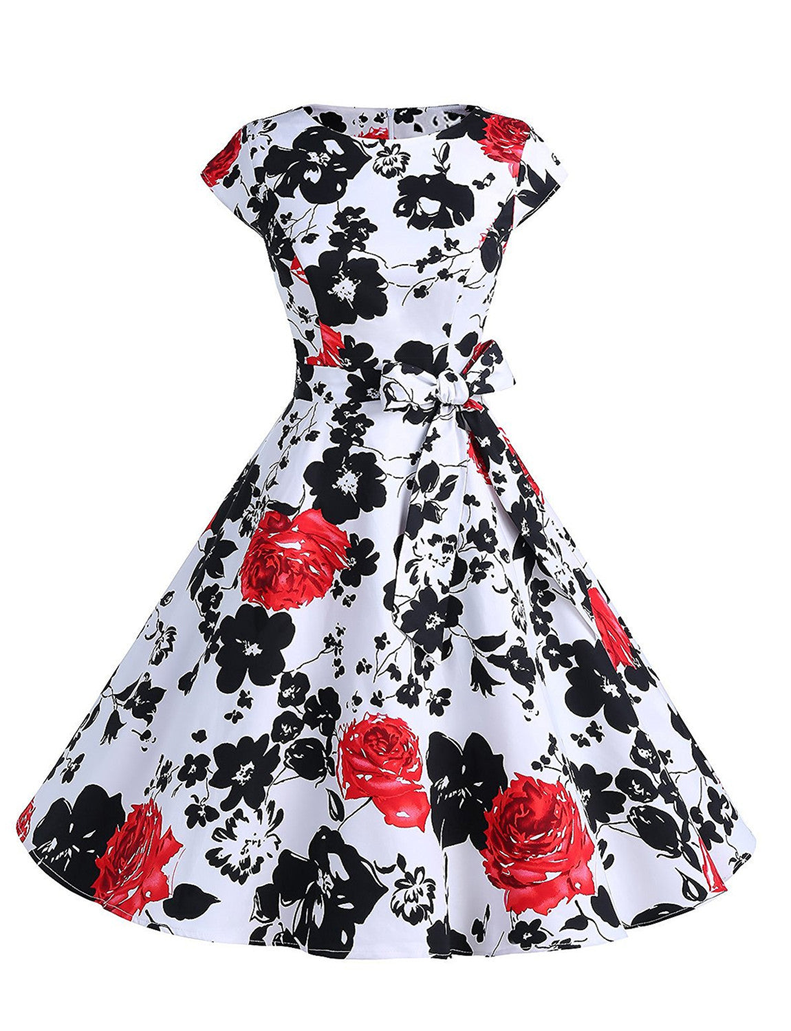 Vintage Pin-up Style Multiple Floral Print A-Line Summer Sundress with Bow