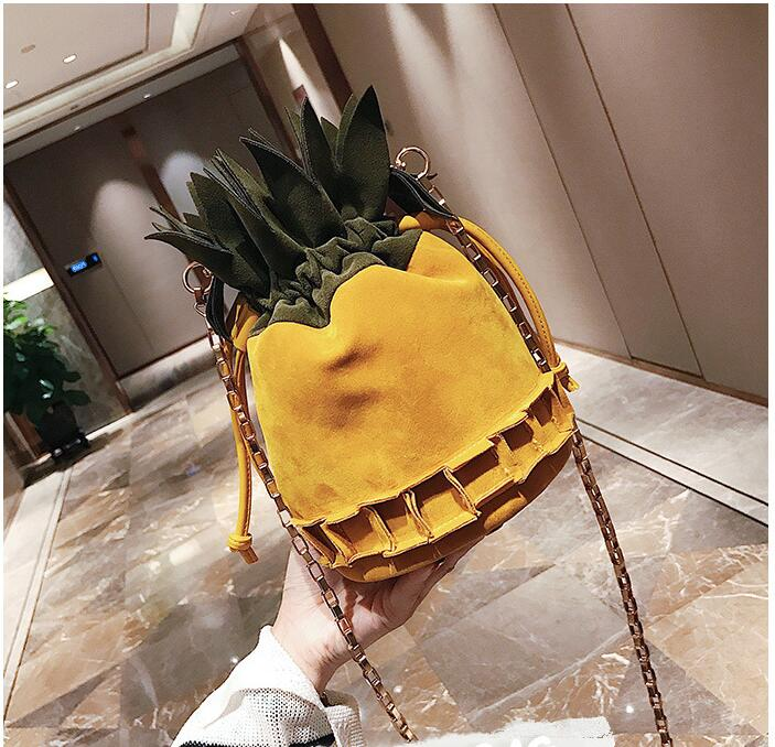 Suede Womens Cute Pineapple Chain Shoulder Bag
