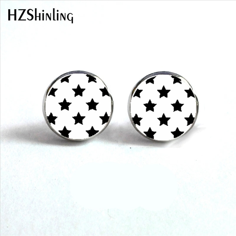 Star Earrings Rockabilly Jewelry Black Stars on White Hypoallergenic Surgical Steel Stud Earrings