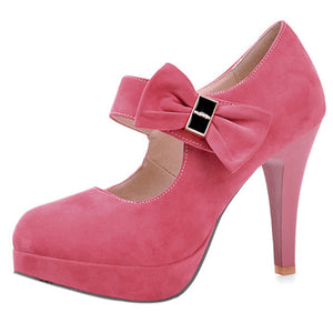 Vintage Retro Style Small Bow Platform Pumps