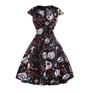 Vintage  Elegant Food Print Dress in V Collar