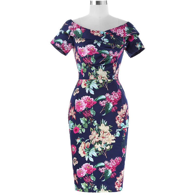 Vintage Rose Print Bodycon Wiggle Dress
