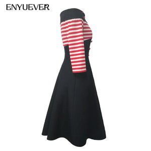 Off Shoulder Striped Vintage Dress