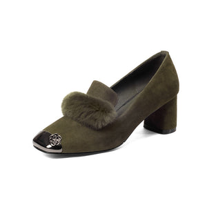 Square Toe Suede Loafers