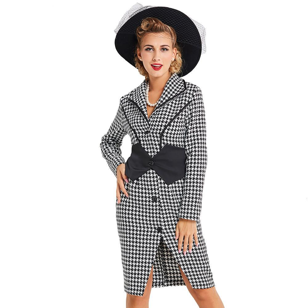Elegant Rockabilly Womens Long Sleeve Print Casual Bodycon Pencil Dress