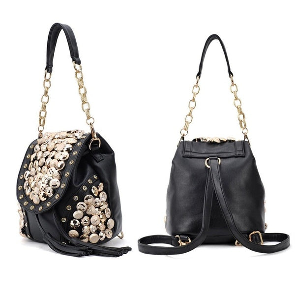 Tassel Punk Leather Crossbody Messenger Bag