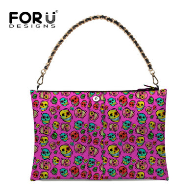 FORUDESIGNS Women Shoulder Bags Rock Ladies Skull Punk Printing Zipper Chains Bags for Ladies Vintage Style Bow Bags Bolsas
