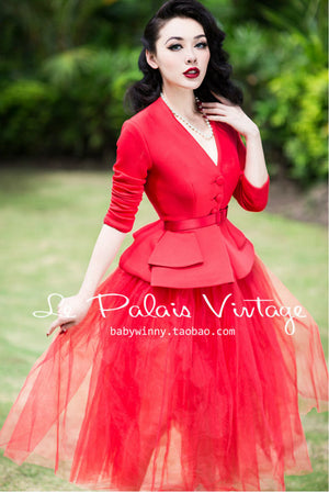 Retro Red Dress in Waist Coat Perspective