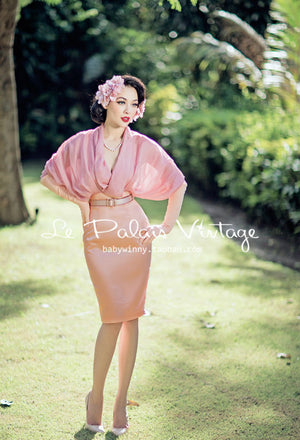 Vintage Elegant Retro Pink Folding Bat Sleeve Dress