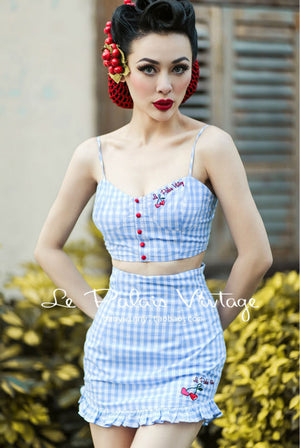 Retro Sweet Blue Cherry Embroidery Jumpsuit
