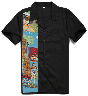 Fashion Casual Novelty Printing Tattoo Male Top Short Sleeves Rockabilly Hiphop Vintage 40s 50s American Club Plus Size Shirts