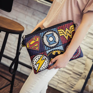 Fashion Handy Wrist Clutch Bag Retro PU Leather Supercool Superhero Avengers Rivet Gothic Punk Bag Shoulder bag