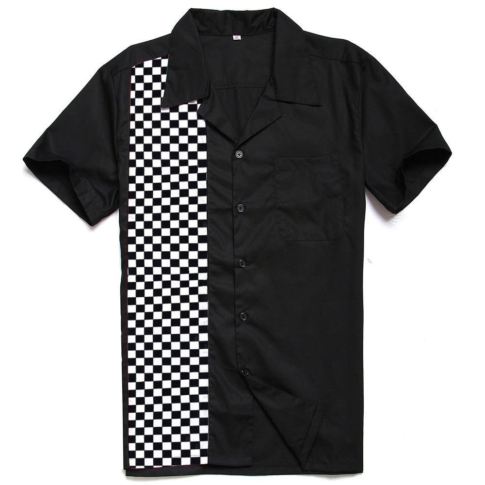 Men's Printed Cotton Casual Black and White Checkered Plaid Panel Shirt