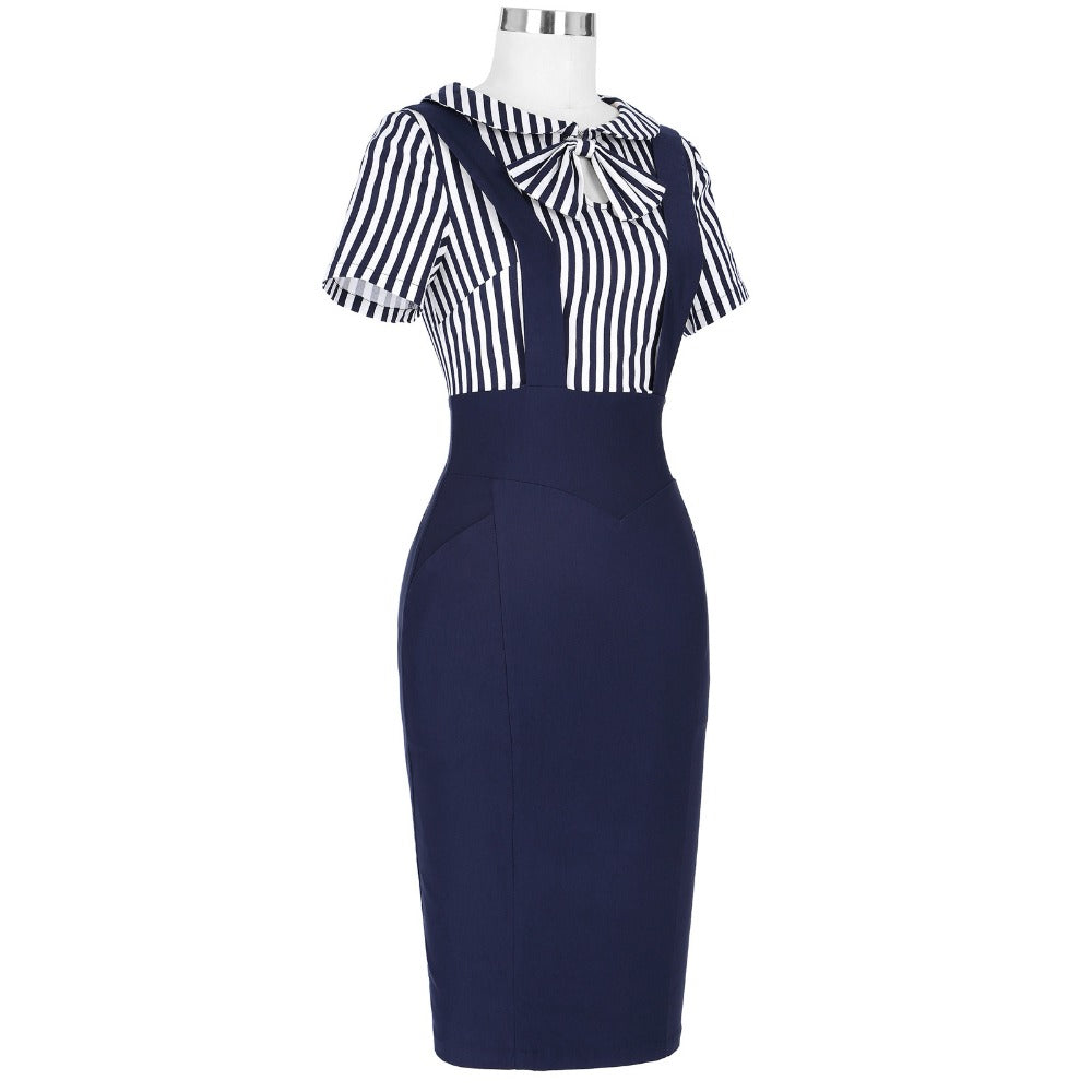 1960s Vintage Pencil Dress with Bow in Peter Pan Collar