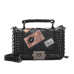 Fashion Punk Style Women Shoulder Bag PU Leather Lips Badge Appliques Rock Girls Messenger Bag Retro Bolsas