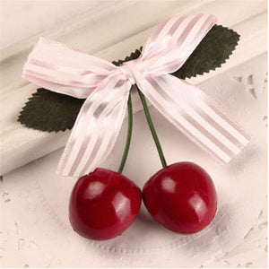 Fashion Style Cute Cherry Bow Hairclip Headwear for Women Girls Vintage Rockabilly Hair Jewelry Accessories