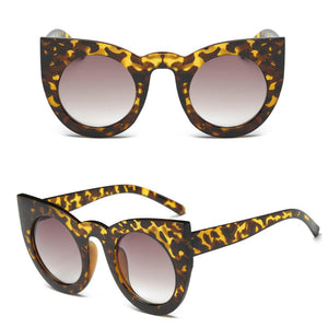 Retro Vintage Mirror Round Frame Designer Cat Eye Sunglasses
