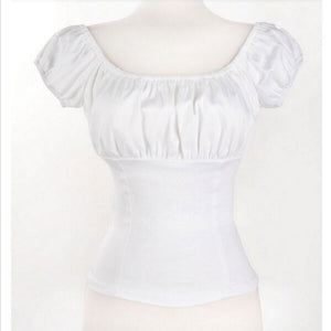 White Rockabilly Pinup Peasant Off Shoulder Top