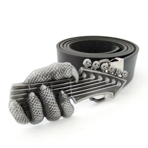 Fashion male belt plus Size with dragon claw guitar skull belt buckle metal men leather belts for jeans cinto masculino