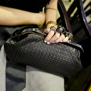 Punk Skull Ring Leather Clutch
