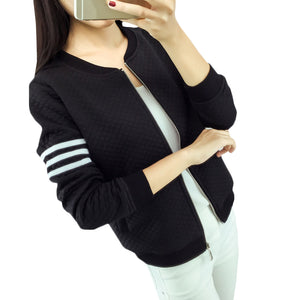 Female Pure Color Cardigan Zipper