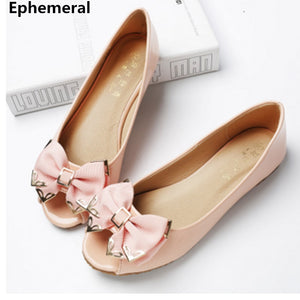Flat Shoes with Bow Peep Toe