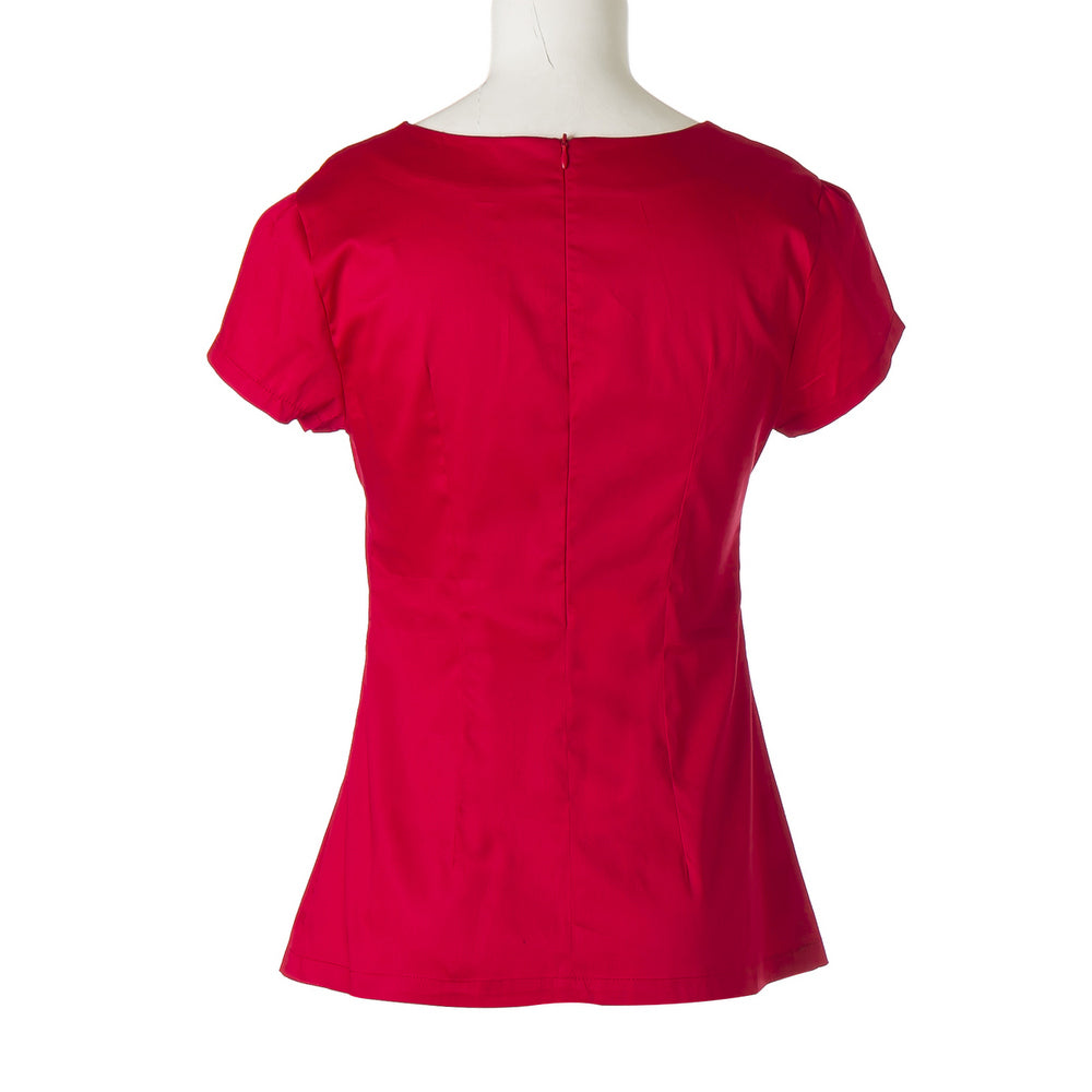 Womens Red 50s Rockabilly V-neck Peasant Top