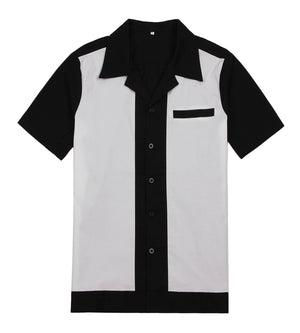 Free dropshipping vintage style retro design black with white stitching rockabilly pinup for man