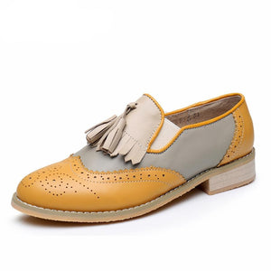 Genuine leather womens shoes tassel vintage flats casual shoes round toe  handmade yellow grey beige oxford
