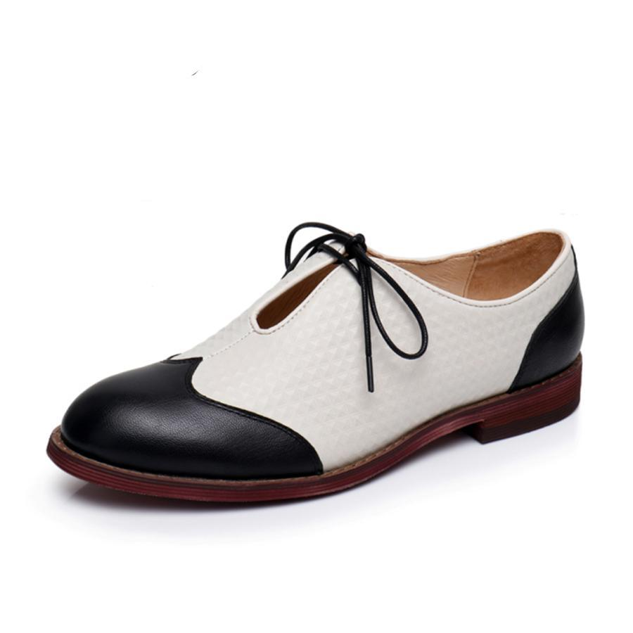 Black Beige Vintage Oxford Shoes