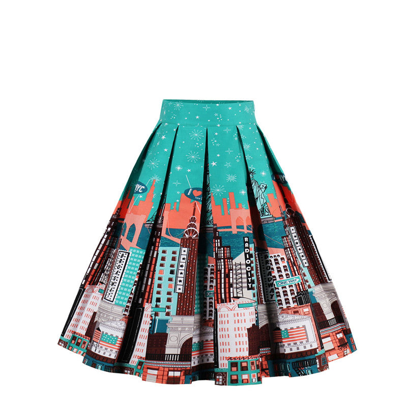1950s Elegant Rockabilly Swing Short Skirt