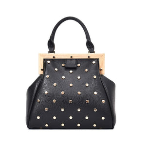 Rivet Design Punk Wood Buckle Handbag