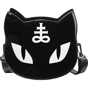 Gothic Pentagram Black Punk Cat Messenger Bag Handbag