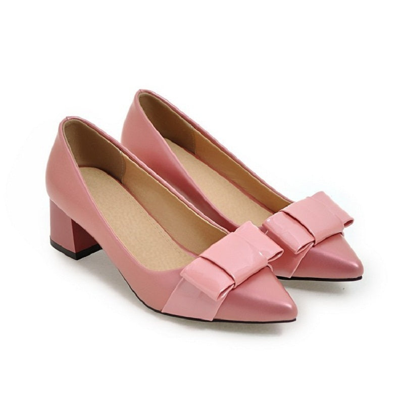Med Thick Heel Buckle Closed Shoes