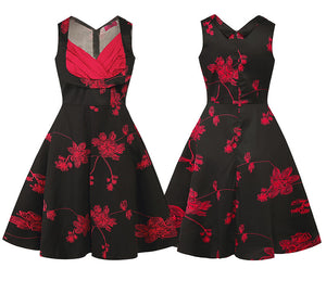 Womens Floral Print Vintage A-Line Pin up Flare Swing Dresses