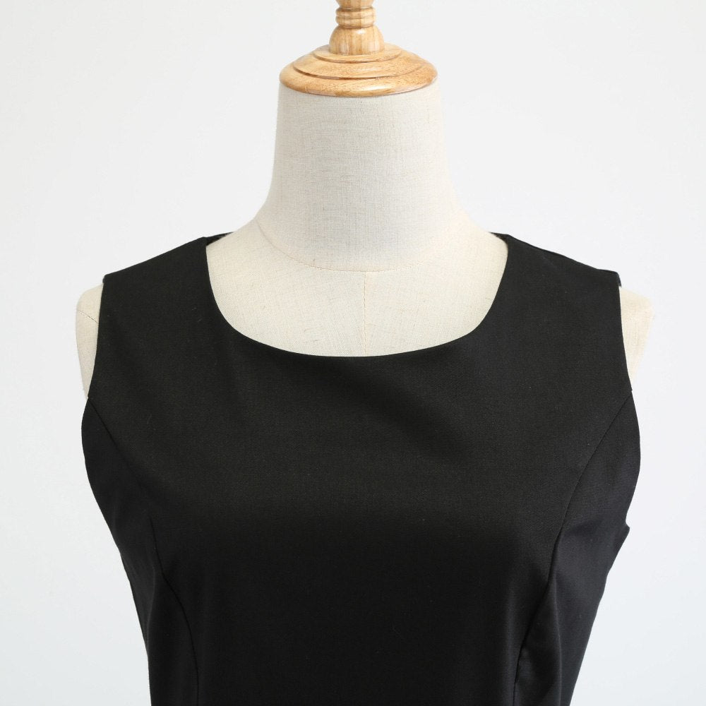Audrey Hepburn Black Vintage O Neck Sleeveless Cute Kittie Dress